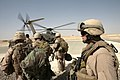 US Navy 081006-N-9623R-012 Command Master Chief James Heiland prepares to board a Marine CH-56 helicopter.jpg