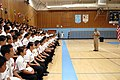 US Navy 081008-N-9818V-201 Master Chief Petty Officer of the Navy (MCPON) Joe R. Campa Jr. speaks to students in the Junior Reserve Officer Training Corps (JROTC) program at Luther Burbank High School during his visit to Sacram.jpg