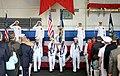 US Navy 090724-N-3143M-034 Adm. Jonathan W. Greenert, left, Adm. Gary Roughead, Adm. John C. Harvey, Jr., and Capt. Phillip Gwaltney (CHC) render honors during the national anthem.jpg
