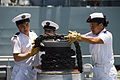 US Navy 100624-N-6674H-032 Sailors aboard the French navy frigate FS Prairial (F 731) perform line handling as the ship moors to the pier at Joint Base Pearl Harbor-Hickam for Rim of the Pacific (RIMPAC) 2010.jpg