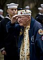 US Navy 111207-N-XS652-007 Frank Chebetar, president of the Pearl Harbor Survivors Association, Tidewater Chapter 2, salutes at a Pearl Harbor memo.jpg