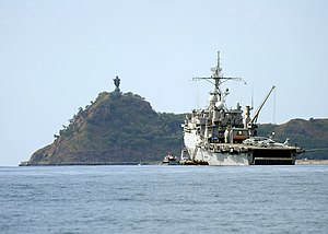Cristo Rei of Dili - Image: US Navy Landing Craft Utility 1665 delivers personnel and hardware as the amphibious transport dock ship USS Cleveland (LPD 7)