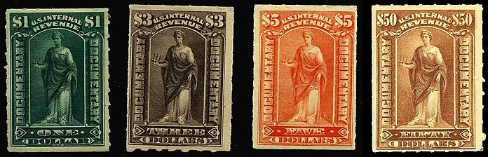 Selection Of US Documentary Revenue Stamps From The 1898 Issue