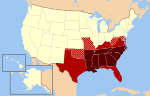 Modern definition The states in dark red are almost always included in modern day definitions of the South, while those in medium red are usually included. Maryland and Missouri are occasionally considered Southern, while Delaware is seldom considered a Southern state. Oklahoma is sometimes considered Southern because the area of Oklahoma, then known as Indian Territory, was allied with the Confederacy. West Virginia is considered Southern by many, because it was once part of Virginia.