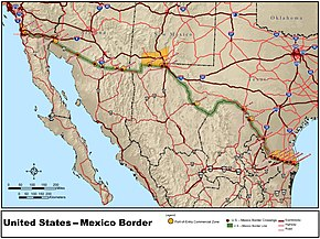 the border between mexico and the united states spans four us states six mexican states and has over twenty commercial crossings