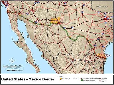 Confine tra il messico e gli stati uniti d 39 america wikipedia - Mappa messico mappa da colorare pagina ...