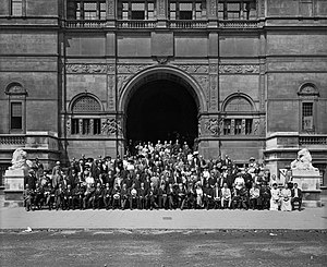 First Universal Races Congress - Image: Universal Races Congress seated outside the entrance to the Imperial Institute, London, 1911