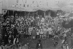 Early twentieth century fruit market in Urmia, Persia.