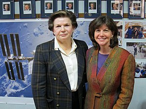 Catherine Coleman -  Catherine Coleman and Valentina Tereshkova at the Gagarin Cosmonaut Training Center in December 2010.