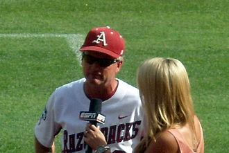 Dave Van Horn - Van Horn participating in an interview during the 2012 College World Series