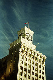 Clock tower of the Vancouver Block on Granville Street, constructed by Dominic Burns of the Burns Meat family