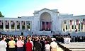 Victims of the Terrorist Attack on the Pentagon Memorial - funeral service Gospel reading at Memorial Amphitheater - Arlington National Cemetery - 2002-09-12.jpg