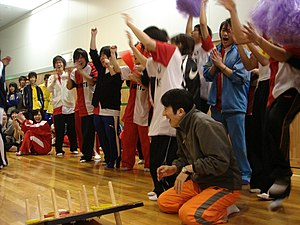 High school students having fun on Sports Day.