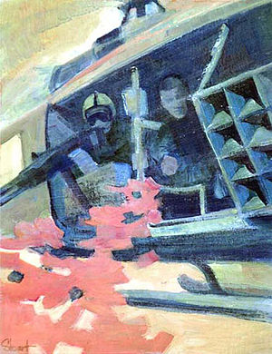 Chieu Hoi - Chieu Hoi Mission by Craig L. Stewart,  U. S. Army Vietnam Combat Artists Team IX (CAT IX 1969-70). Painting shows army soldiers airdropping Psy Op leaflets during the Vietnam War.