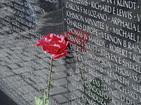 Vietnam Vet Memorial with Rose.JPG