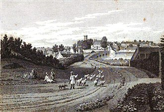 Islip, Oxfordshire - Image: View Of Islip From The South Bank Of River Ray Early 1800's