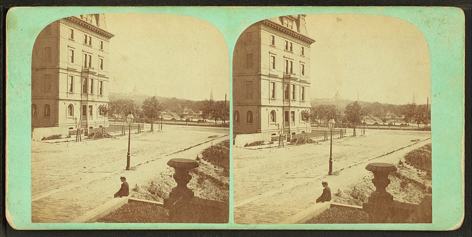 View of public garden and Common from Newbury St, by John B. Heywood