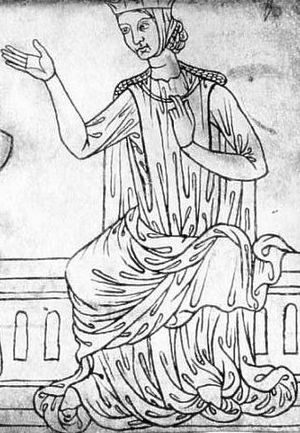 1200–1300 in European fashion - Woman in a barbette and coif, sleeveless surcoat, gown and mantle. Sketch by Villard de Honnecourt, c.1230