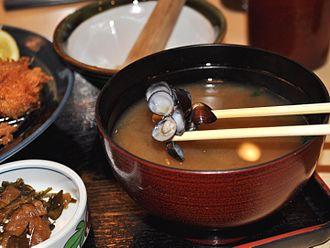 Miso soup - Black clam miso soup at a Tokyo restaurant