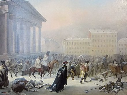The French Army in the Town Hall Square of Vilnius during the retreat