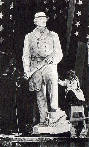 Admiral David G. Farragut (Ream statue) - Vinnie Ream working on the Farragut plaster model.