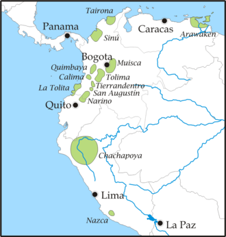 Tairona - Map showing ancient pre-Columbian cultures in northern South America