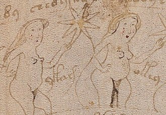 Voynich manuscript - Retouching of drawing; page 131; f72v3