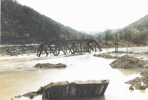 1985 Election Day floods - Destroyed railroad and highway bridge in Rowlesburg, West Virginia