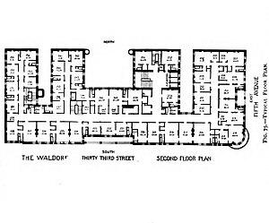 Waldorf–Astoria (New York, 1893) - Floor plan of the Waldorf