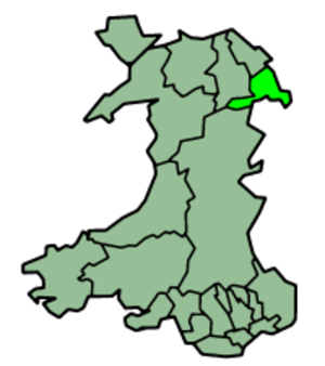 History of Wrexham - Location of Wrexham within Wales