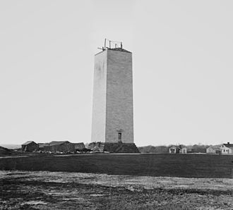 Washington Monument - The partially completed monument, photographed by Mathew Brady; circa 1860