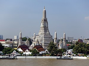 Wat Arun - Daytime view of the main prang, after the 2017 restoration