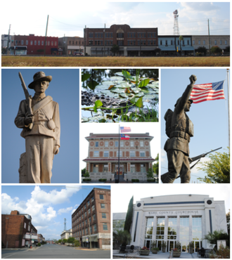 Waycross, Georgia - Images from top, left to right: Downtown Waycross, Confederate memorial, alligator in the Okefenokee Swamp, Waycross City Hall, World War I memorial, Downtown Waycross Historic District, Ware County Courthouse