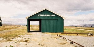 Otago Central Railway - Goods shed at Wedderburn, photographed in 2004 after the line's conversion to a rail trail.