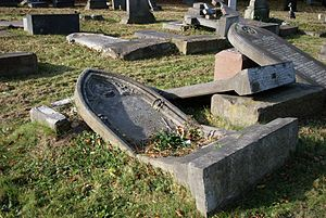 Welford Road Cemetery - Flattened and damaged gravestones in Welford Road Cemetery