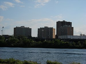 West Campus - The three dorms seen from across the river