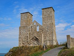 Looking up at Reculver towers from close by on a sunny day