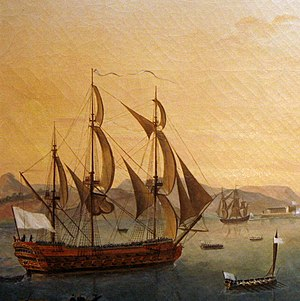 History of the French Navy - A ship of the line at the Battle of Martinique in 1780, flying the white ensign in use during the time of the House of Bourbon.