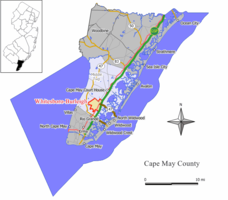 Map of the former Whitesboro-Burleigh CDP in Cape May County. Inset: Location of Cape May County in New Jersey.