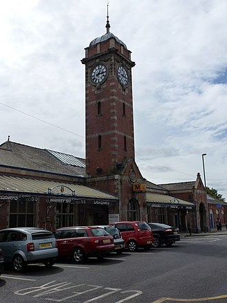 Whitley Bay Metro station - The station's north entrance featuring the well-known clock tower