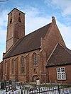 foto van Hervormde kerk: Schip en westtoren vormen de overblijfsels van een laatgotische kruiskerk