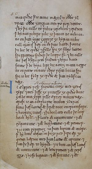 Edward the Elder - A page from the will of Alfred the Great, which left the bulk of his estate to Edward