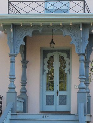 Henry Austin (architect) - Indian architecture made a deep impression on Austin and found its way into much of his detail work. This is the porch from the Willis Bristol House in New Haven.
