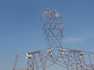"Renewable energy sculpture - ""Menina"", a wind turbine sculpture model by artist Elena Paroucheva"