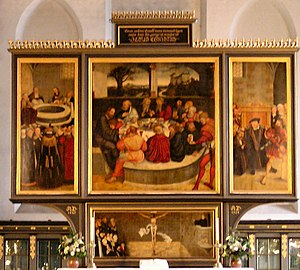 Art in the Protestant Reformation and Counter-Reformation - Cranach the Elder's Altarpiece at Wittenberg. An early Protestant work depicting leading Reformers as Apostles at the Last Supper.
