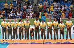 Women's volleyball podium Rio 2007.jpg