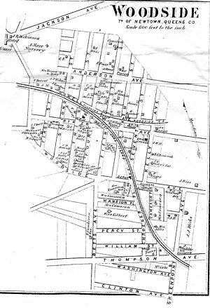 Flushing and North Side Railroad - Image: Woodside 1908 map