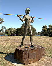 Robert Hitchcock's statue of Yagan unveiled in 1984 at Heirisson Island