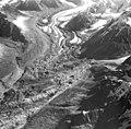 Yanert Glacier, valley glacier terminus coated in rocks, September 3, 1970 (GLACIERS 5120).jpg