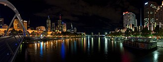 Yarra River - Yarra River Night Panorama.